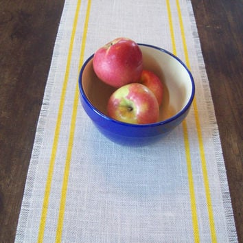 Burlap Table Runner with Yellow Double Stripes 12 x 60 / Spring Table Runner