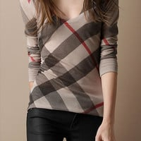 Check Merino Wool Blend Sweater