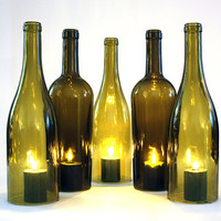 Wine Bottle Candle Shade Hurricane Set of Five