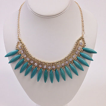 Boho bib necklace / Boho necklace / Boho gold necklace / Boho turquoise necklace / Boho crystal necklace / Boho statment necklace