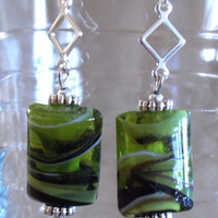 Silver Diamond w/ Lime Green, Black & White Swirled Lampwork Glass Bead Dangle Earrings, Handmade, Exotic, Original Design, Fashion Jewelry