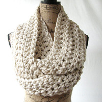 Large Tan Chunky Scarf Fall Winter Women's Accessory Infinity Made To Order