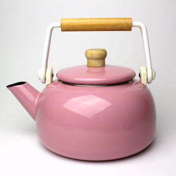 Vintage Pink Enamel Tea Water Kettle w/ Wooden Handle - 80s 90s Design Rose Mid Century Enamelware Tea Pot