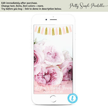 Pink and Gold Snapchat Filter, Pink and Gold Bridal Shower, Bridal Shower Snap Chat Filter, Geofliter Templett, Wedding Shower Filter TASPG2