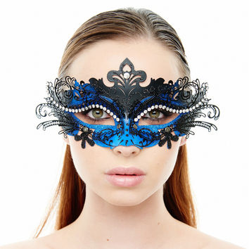 Party Masks Masquerade, Laser Cut Venetian Masquerade Decorations- Blue/black