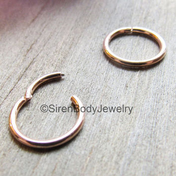 e03a7eee3 18g Septum piercing ring hinged rose gold daith earring click.