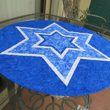 Quilted Table Topper Star of David 632