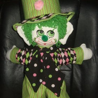 Handmade Rag Doll Clown Bashful Pete