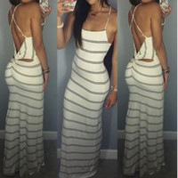 CUTE STRIPE BACKLESS DRESS