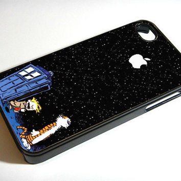 Calvin and Hobbes Tardis - Print on iPhone 4/4s Case - iPhone 5 Case - Samsung Galaxy S3 - Samsung Galaxy S4