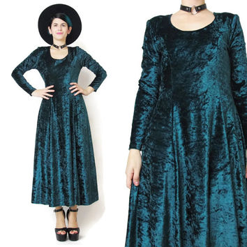 90s Velvet Long Sleeve Dress Green Velvet Dress Crushed Velvet Maxi Dress Christmas Holidays Party Dress Goth Witchy Dress Full Flared (M)