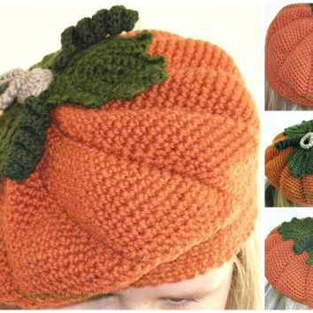 Child Crochet Pumpkin Hat , Crochet Beret,Baby Pumpkin Hat,  Halloween Costume Hat, Autumn Hat, Orange With Green Leaves