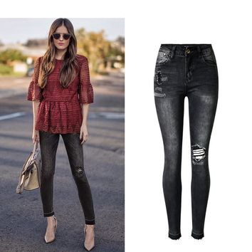 High Waist Denim Washed Black Jeans Skinny Ripped Jeans