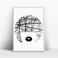 Girl Print, Black and White Artwork, Black Lips, Original Scandinavian Wall Decor, Face Prints, Simple Lines Art, Brush Stripes, Bob Haircut