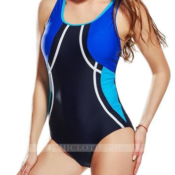 Chicloth Piece Swimsuit Racer Back Contrast Splicing Padded Swimwear Playsuit Women Sporty One