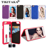 Fashion Elegant Lady 3D Leather Wallet Flip Case For iPhone 5 5S SE 6 6S / Plus Multifunction Mirror Dual Layer Card Slot Cover