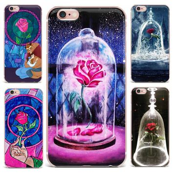 Case For Apple iPhone 7 6S 5 5S 8 Plus X 4 Phone Case Beauty And The Beast Hand Painted Flower Abstract Soft TPU Series Vintage