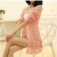 Fashion Knitted Cardigan Loose Pocket Hollow Long Sleeve Women Sweater Female Cardigans Women's Coats Sweaters Outerwear DL1261