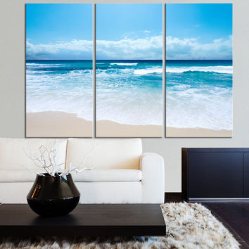 Large Wall Art Ocean Beach and Wave Canvas Print - Seascape Scenery 3 Panel Canvas Art For Wall Decor - MC177