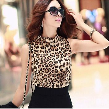 2016 New Fashion Cotton Women Clothing Sexy Blusas Femininas Top Leopard Camisole Shirt Women's Vest Tops Cropped  Size #LYW