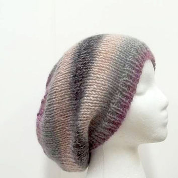 Slouchy beanie hat, hand knitted, large size   5075