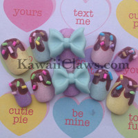 Chocolate yummy glitter Nails with rainbow sprinkles & bows Lolita gyaru kawaii fake false 3D nails nail art