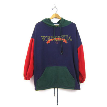 vintage COLORBLOCK sweatshirt slouchy Venizia Hoodie 1990s retro Hipster Sweater Top Color Block Purple Green Women's Plus Size 18 20 XXL