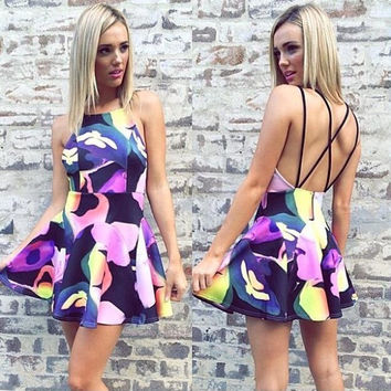 Fashion  Multicolor Print Frills Sleeveless Backless Crisscross Strap Mini Dress