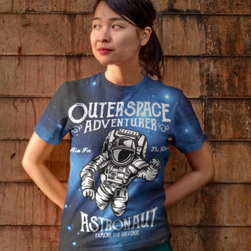 Space Shirt - Outer Space Adventurer All Over Print, Space Tshirt, Space T Shirt, Space Art, Space Helmet, Astronaut Shirt, Unisex T-Shirt