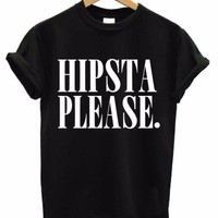 HIPSTA PLEASE Women's Casual Black T-Shirt