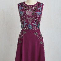 Vintage Inspired Mid-length Sleeveless A-line It's Meant to Bead Dress in Berry
