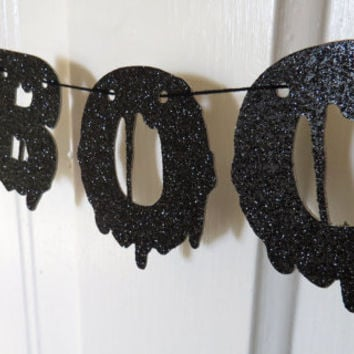 Black Blood Glitter BOO & Bat Halloween Banner Garland