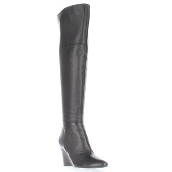 Via Spiga Kennedy Over-The-Knee Wedge Boots, Black, 5 US / 35 EU