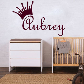 Tiara Wall Decals Custom Name Sticker Princess Crown Vinyl Nursery Decor SM182