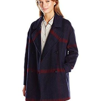 Tommy Hilfiger Women's Double Breased Oversized Wool Coat, Blue/Red Plaid, L