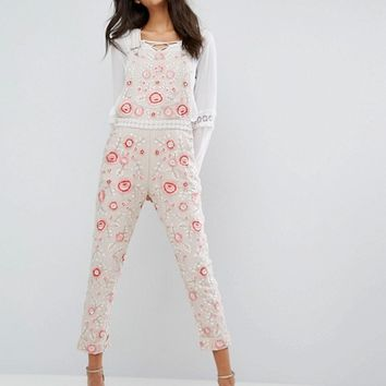 Needle & Thread Cherry Blossom Embroidered Dungarees at asos.com