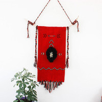 Unique handmade wall hanging in red, black and white with wool fringes and wooden tree branch, boho wall decor, boho wall art