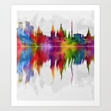 Moscow skyline reflection  003 04 03 17 Art Print by Algirdas Lukas