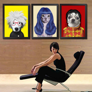 Dog Lovers Iconic Superstars Theme Wall Display Retro Pop Art for Cafes Restaurant Bistro Wine Bars Ice Cream Shop Bakery Store Sushi Bar Window Display Wall Plaque Vintage Wall Decor Framed Art