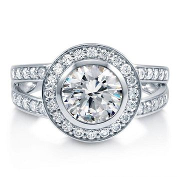 A Flawless 2CT Round Cut Russian Lab Diamond Halo Split Shank Ring