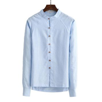Linen shirts men Chinese style collar long sleeve Breathable soft shirt men classic white/khaki shirt for men's good clothing