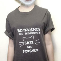 CAT SHIRT unisex crew neck. Boyfriend shirt.