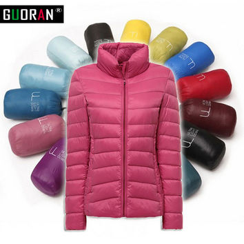 18 colours  Down Parka 2016 Famous Brand Designer Winter Jacket Women 90% White Duck Down Jacket Outwear Ultralight  Thin Coat