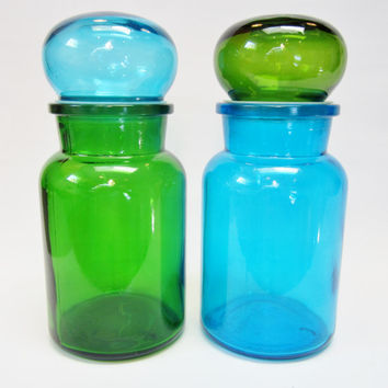 Vintage Glass Apothecary Jars Canister EMERALD GREEN and BLUE Belgium