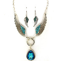 teal angel wing necklace and earrings set