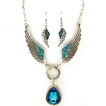 teal angel wing necklace and earring set