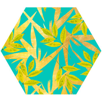 Gold and Teal Florals Hex Wall Decal