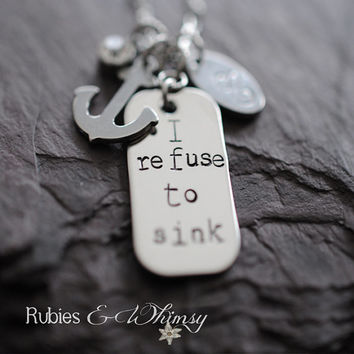 Refuse To Sink - Personalized Necklace, Hope, Anchor, Inspirational Gift, Anchor for the Soul, Heb. 6:19, Inspirational, Christian Gift