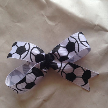 Soccer double loop hair bow-Soccer hair bow-Hair Clip-Hair Barrette-Soccer Mom