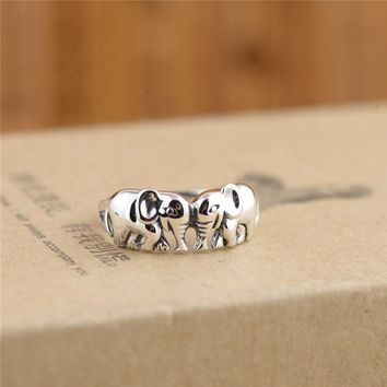 GAGAFEEL 100% Sterling Silver Rings Fine Auspicious Elephant Jewelry Rings
